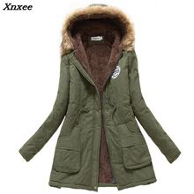 2018 winter jacket women wadded jacket female outerwear slim winter hooded coat long cotton padded fur collar parkas plus size цена 2017