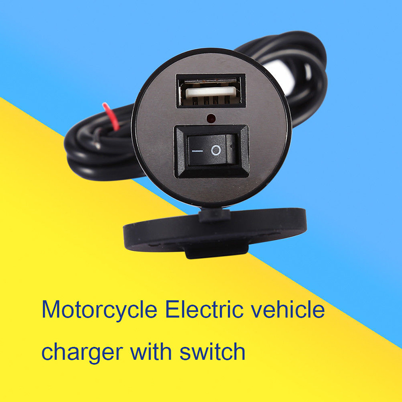 12V Motorcycle USB Mobile Phone GPS Power Charger Adapter Switch DC 5V Charged Universal Power Converter Therefore Accessory