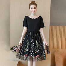 Summer Dress 2019 Casual O-Neck Short Sleeve Floral Embroidery Dresses Elegant Knee-Length Party Dress Plus Size Women Clothing short sleeve white lotus printing o neck women dresses casual cotton linen knee length dress vestidos summer plus size
