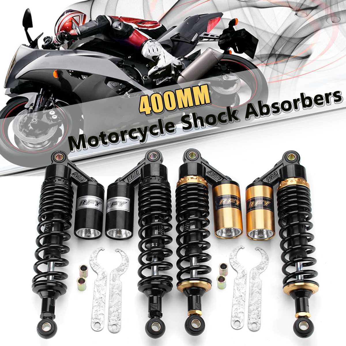 "1 Pair 15/"" 380mm Motor Scooter Rear Suspension Air Gas Shock Absorber Universal"