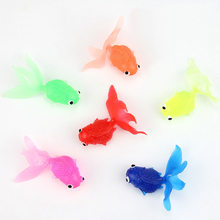 20pcs/lot 4cm Soft Rubber Goldfish Toys Simulation Gold Fish Outdoor Toys for Kids Boys Play Game Random Color(China)