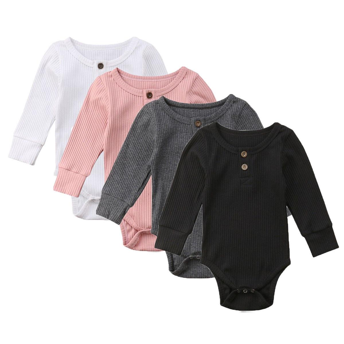 0-24M Newborn Baby Girl Boy Bodysuit Autumn Winter Solid Cotton Long Sleeve Bodysuit O-neck Jumpsuit Outfit