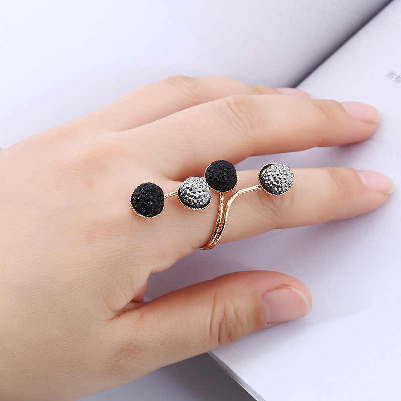 Opening Black Silver Round Rings For Women  Jewelry Gothic Female Ring Boho Engagement Ring For Women Wedding Promise Rings Gift