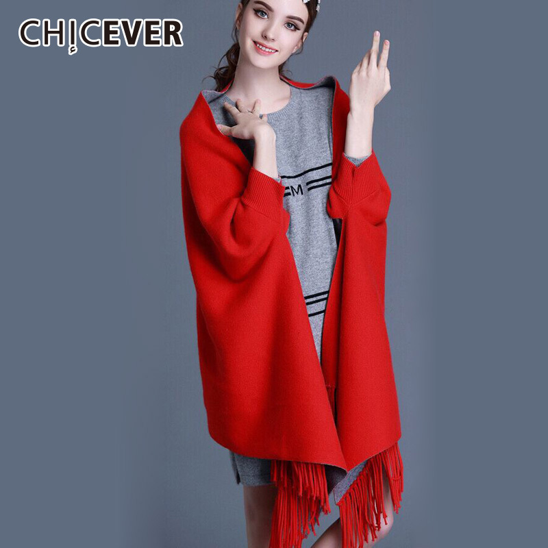 [CHICEVER] 2018 Autumn Winter Tassels Shawl Women Scarves Both Sides Can Wear Cashmere Wraps New Fashion