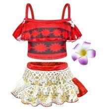 AmzBarley Girls Moana Princess Swimsuit Two Pieces Sets Sling Ruffle Cosplay Swimwear toddler girls Sun-Wear Split Bathing Suit