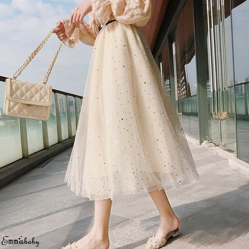 New Women Sexy Sheer Mesh Pleated Skirts Summer 2020 Glitter Sequined Long Maxi Skirts Lady Girl Chic Gown Tulle Tutu Skirt Robe