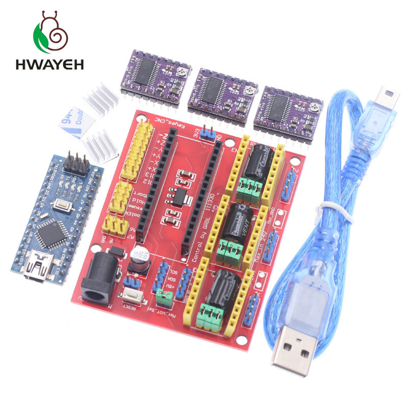цена на CNC shield V4 engraving machine 3D Printer+3pcs DRV8825 driver expansion board For Arduino NANO V3. 0 with USB cable nano 3.0