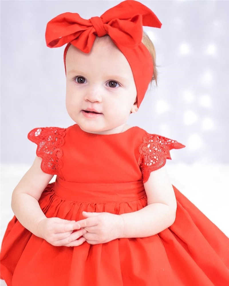 2019 Summer Newborn Baby Girl Lace Flower Princess Red Romper Cute Dresses Birthday Party Dress Clothes