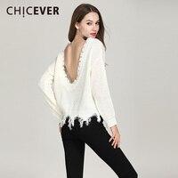 CHICEVER Autumn Backless Sweater For Women Long Sleeve Irregular Tassel Knitting Lady's Sweater Tops Female Sweet Clothing 2018