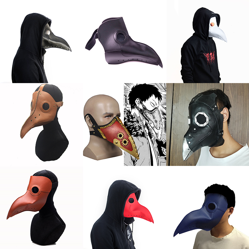 New plague doctor mask Beak Doctor Mask Long Nose Cosplay Fancy Mask Gothic Retro Rock Leather Halloween beak Mask