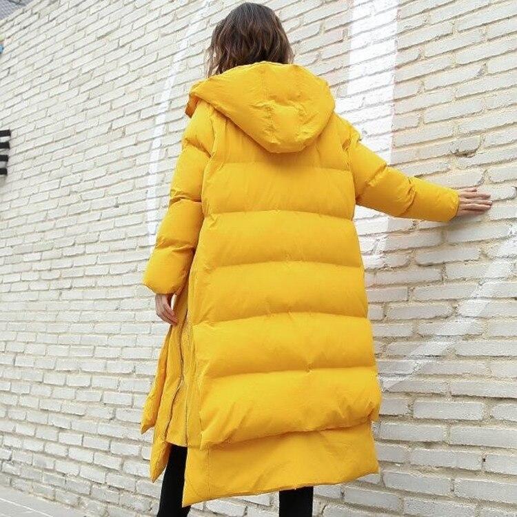 Capuchon De 2018 Streetwear Manteaux Plus Mode Jaune Femmes Manteau À D'hiver Parka 0780 Zipper Feminino yellow Inverno Taille Lâche Côté Black Casaco 6nTdwqC