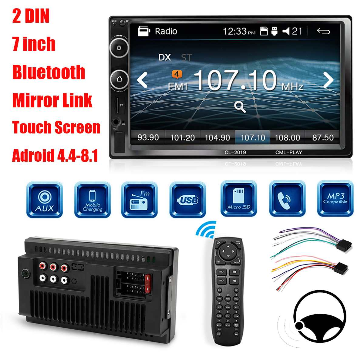 7 Inch 2DIN bluetooth Car MP5 Player HD Touchable Car Radio Audio Hands Free Remote Control AUX FM USB Car Multimedia Player