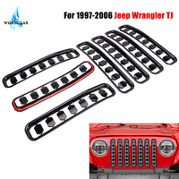 7PCS Gloss Black Honeycomb Front Grille Insert Grill Cover Trim For Jeep Wrangler TJ 1997 2006 Mesh Grille Frame Shell ABS