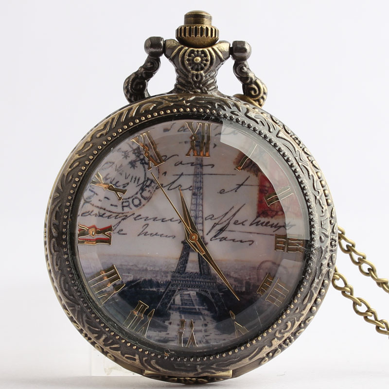 Pocket & Fob Watches Eiffel Tower Design Glass Face Quartz Pocket Watches Vintage Fob Watches  Gift for Men/Women