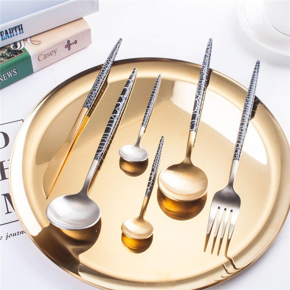 Черный, белый цвет Сетевое зарядное устройство с американской вилкой и изображением трещин 304 Нержавеющаясталь наборы посуды из золотого, серебряного цвета вилки и нож Еда столовые приборы для детей 4/5 шт.