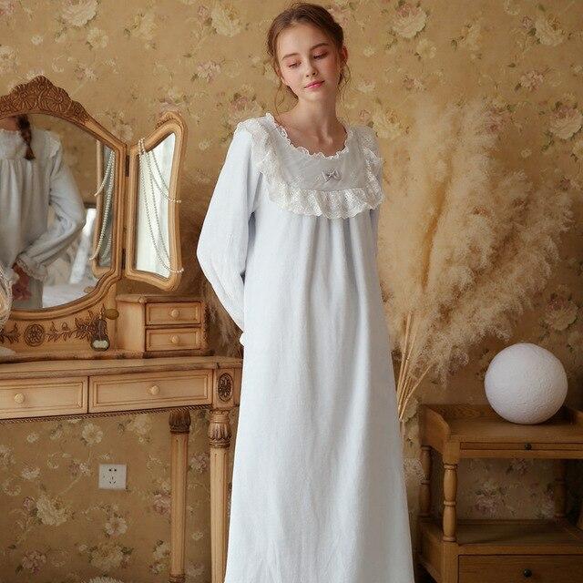 Princess Velvet Woman Autumn Lace Court Romantic Princess Retro Nightdress  Victorian Style Plus Size Nightwear Long Nightgown 28bc2d147