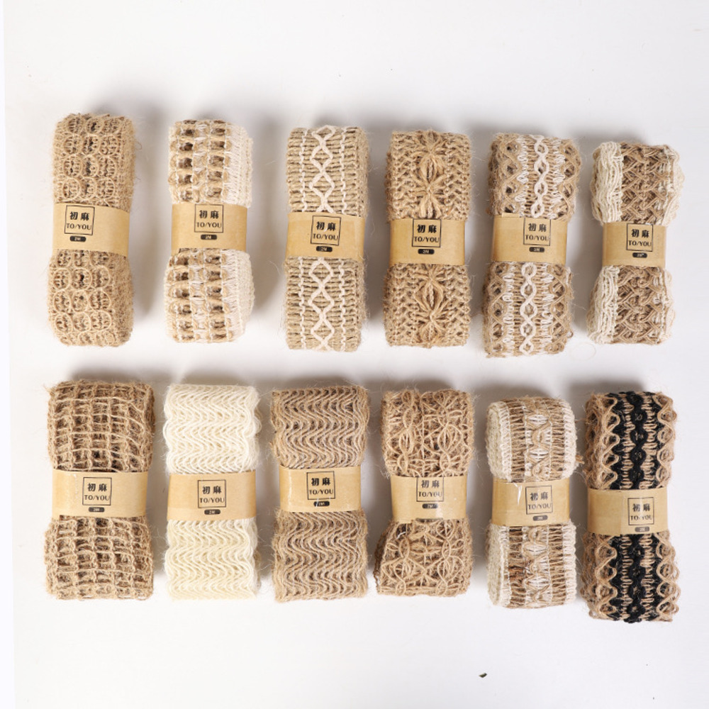 New 2m/roll Natural Jute Burlap Hessian Ribbon With Cotton Lace DIY Trim Fabric For Sewing Wedding Decoration Accessories
