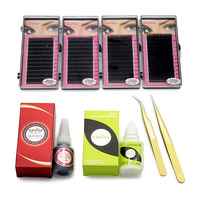 Navina 8pcs/Set Eyelash Extension Training Kit 4pcs*Silk Eyelashes(8/10/12/14mm)+1pc*Eyelash Glue+1pc*Safe Remover+2pcs*Tweezers