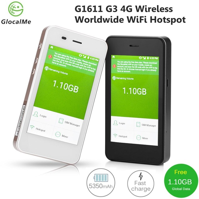 GlocalMe G1611 G3 4G Wireless Global WiFi Router Data Terminal Worldwide High speed WiFi Hotspot Fast Network Free Roaming