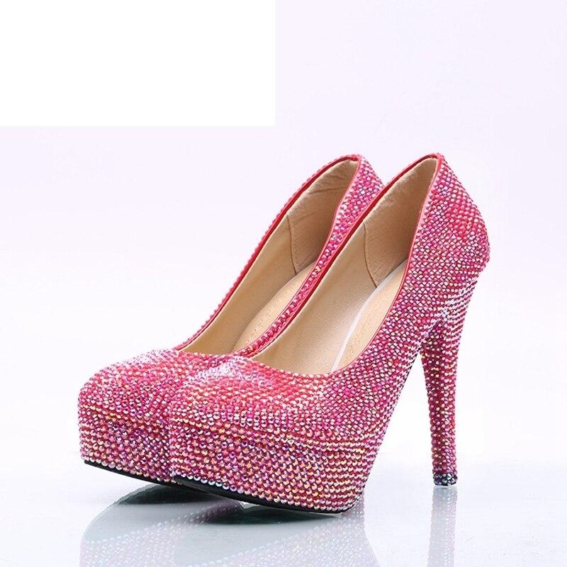 11cm 8cm Pompes Adulte Mariage pink Princesse Mariée 14cm Talon Cérémonie Rose Plates Super Cristal Haute Heels Pink Belle Strass formes De Ab Heels Chaussures w1qnxOU0