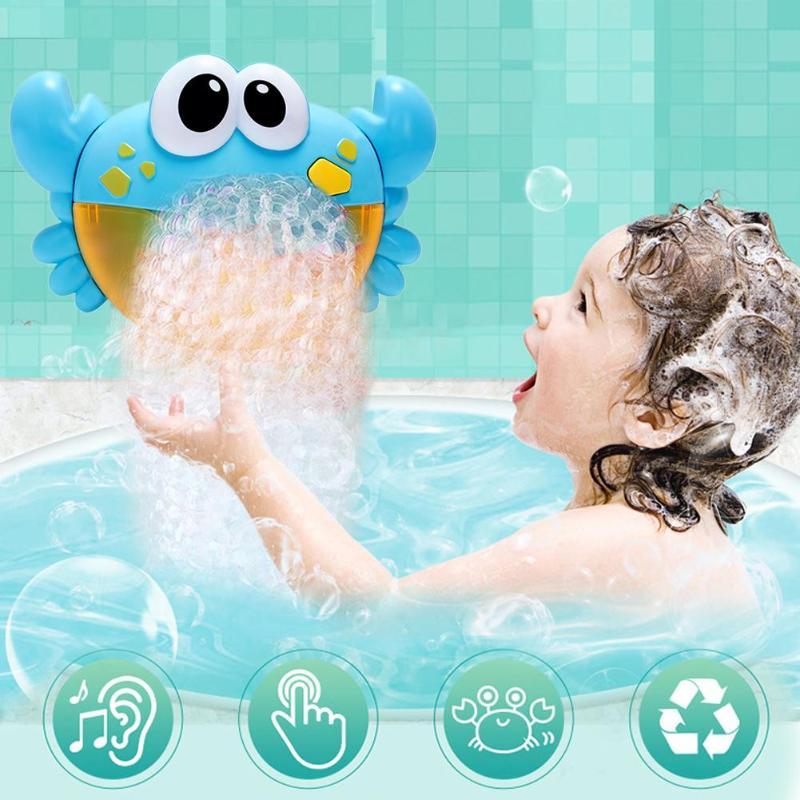 Máquina de burbujas de cangrejo de dibujos animados de plástico máquina de burbujas de música divertido agua un botón bebé ducha juguete herramientas de enseñanza de música para A casa