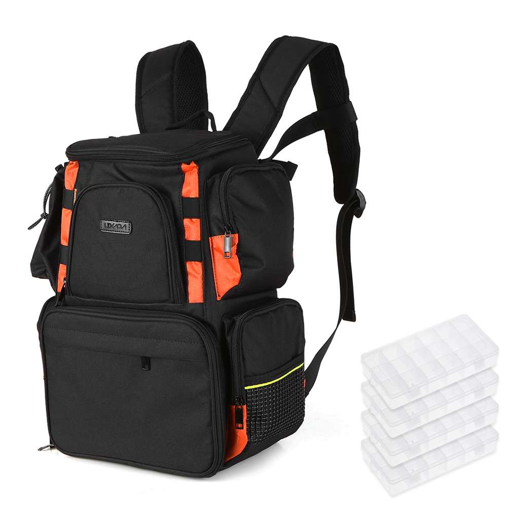 Lixada Fishing Tackle Bag Backpack Fishing Lures Bait Box Storage Bag with 4 Fishing Gear Boxes