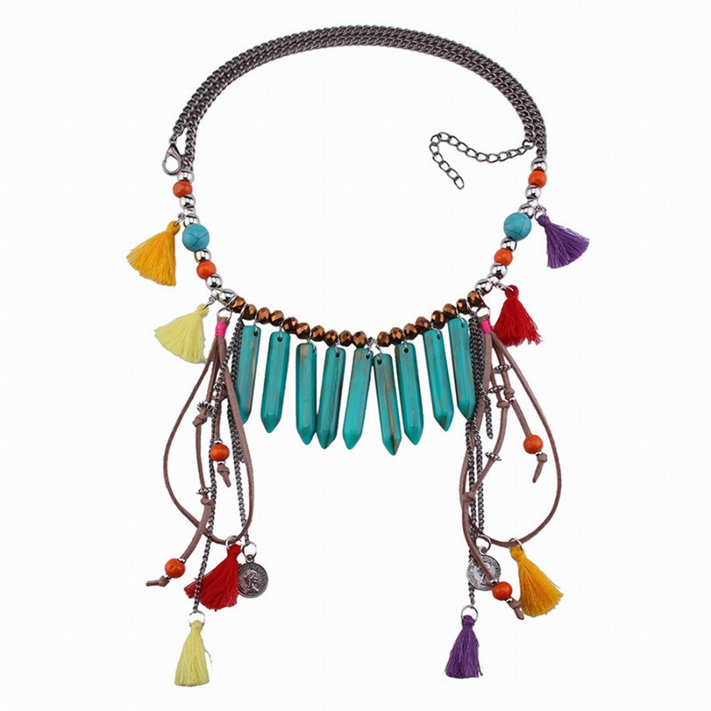 Colorful Chunky Bead Pendant Necklace For Women Tassel Long Chain Handmade 2018