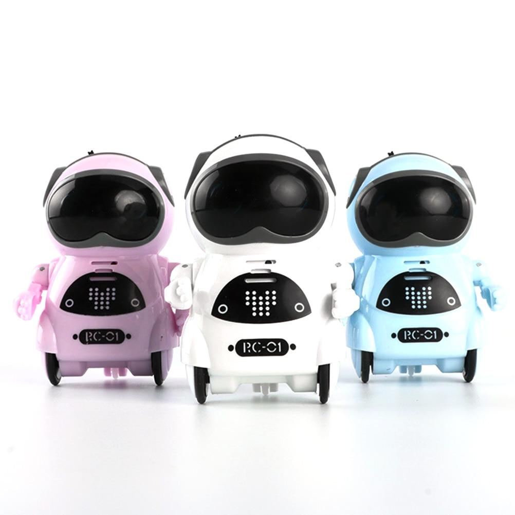 Mini Pocket Smart Robot Multi-Functional Voice Dialogue Light Dance Robot Toy RC Robot Age 8 Kids Fu
