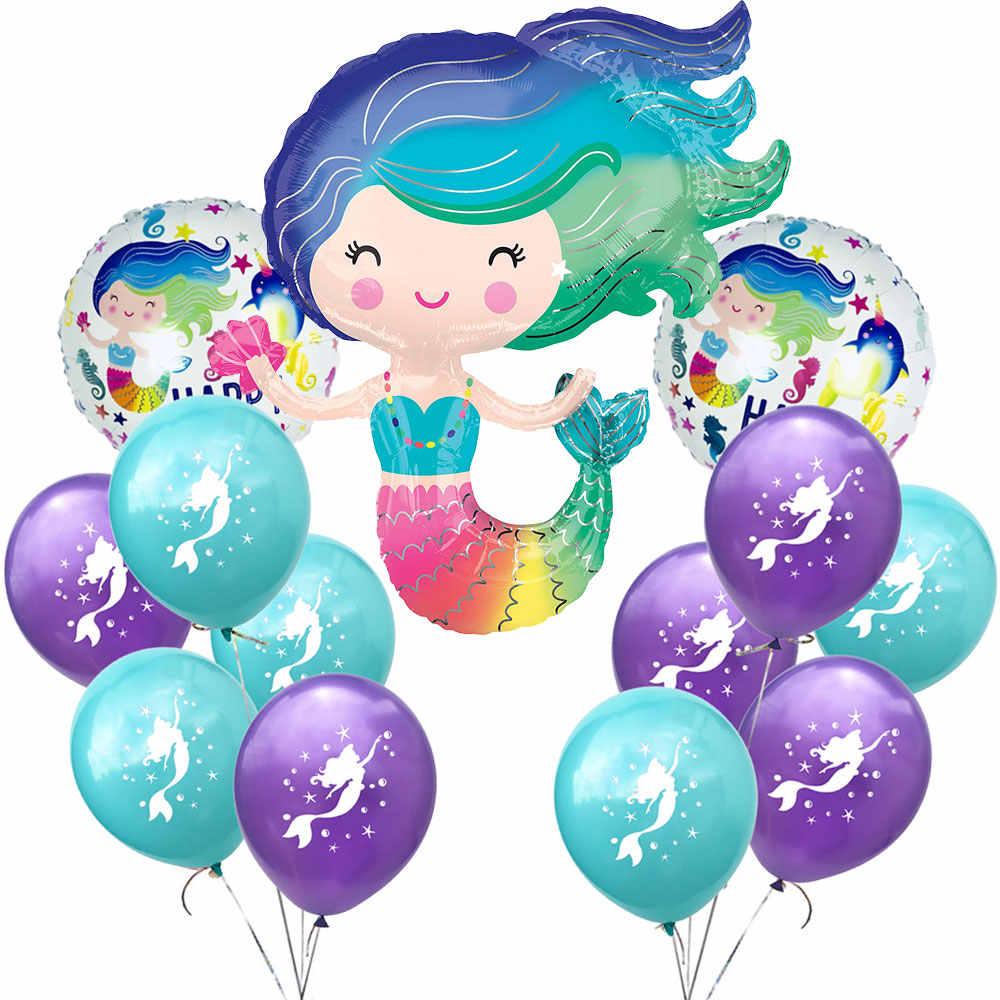 Zljq Putri Duyung Peralatan Makan Pesta Kit Perlengkapan untuk Gadis Ulang Tahun Pernikahan, Baby Shower Dekorasi Piala Jerami Balon Piring Topi Kacamata