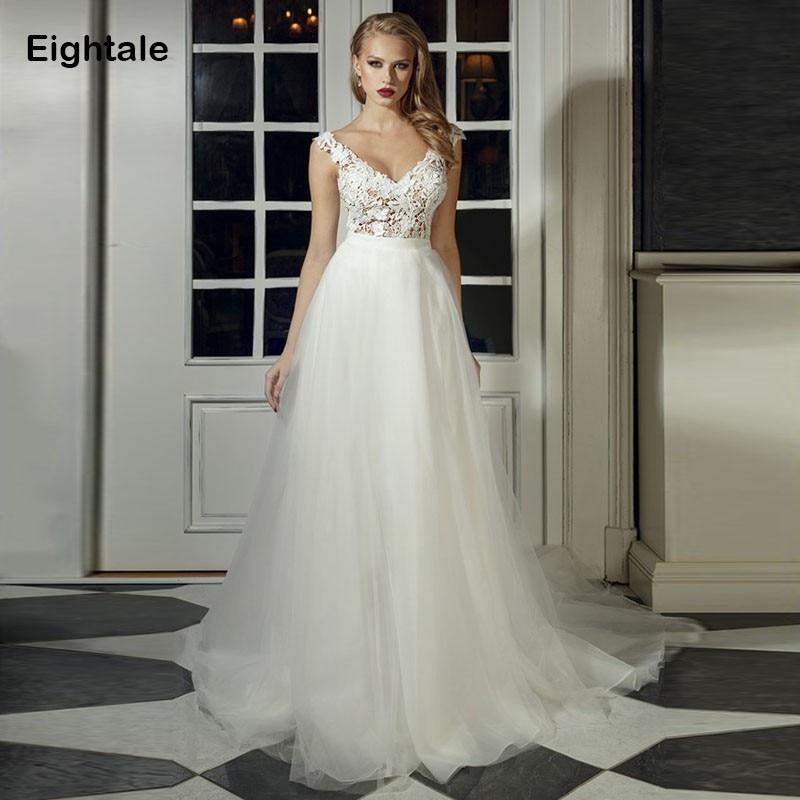 Eightale Boho Wedding dress Appliques V Neck Bride Dress A Line Simple Tulle Lace Vintage Wedding Gowns  robe de mariee 2019
