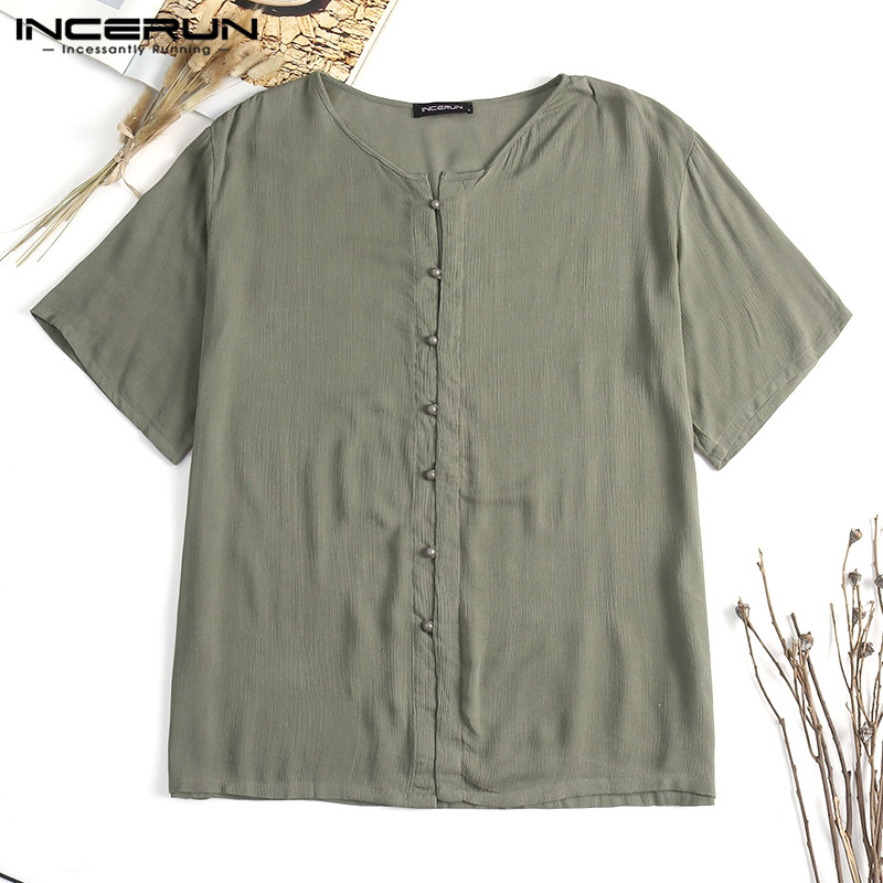 INCERUN Stylish Mens Shirts Dress Short Sleeve Crew Neck Summer Tee Tops Male Clothing Man Camisas Hombre Casual Beach Shirt 5XL