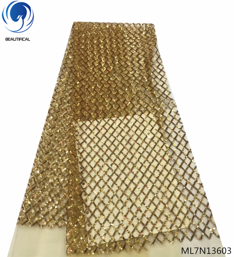 BEAUTIFICAL african lace fabrics french sequins glitter lace fabric 5 yards women clothes gold color for