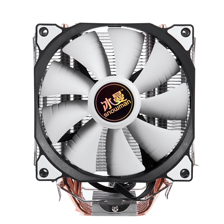 Bonhomme de neige 4PIN refroidisseur de processeur 6 heatpipe ventilateur unique refroidissement 12 cm ventilateur LGA775 1151 115x1366 support Intel AMD