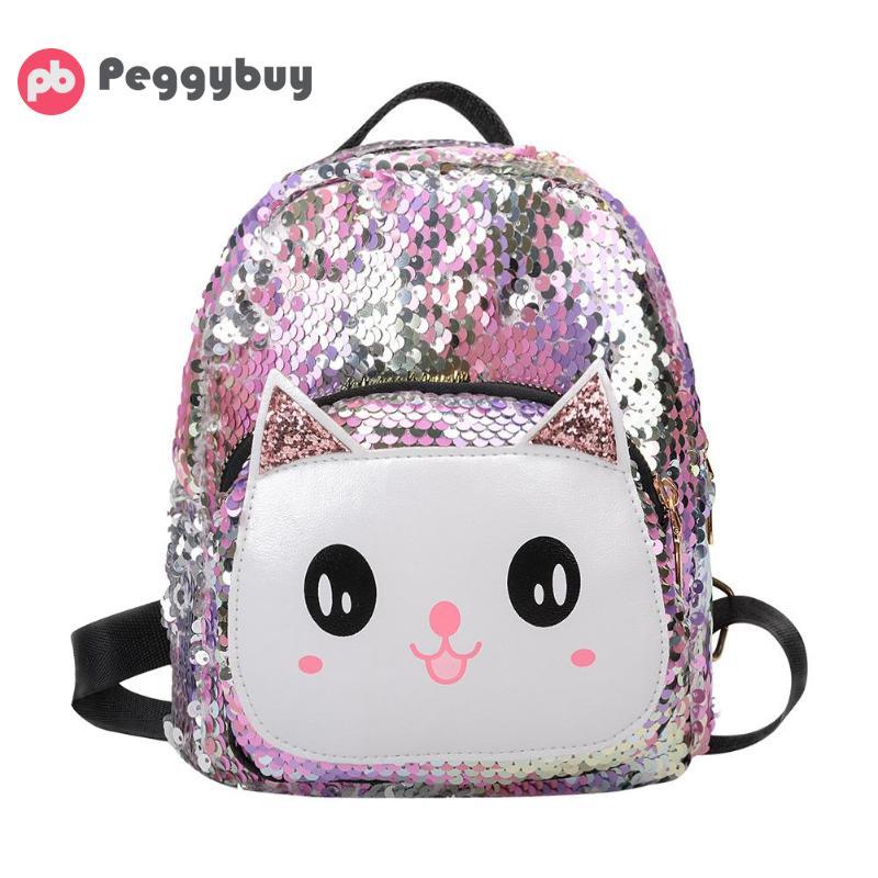 Sequins Cat Backpacks Women PU Mochila Bling Rucksack Glitter Teenager Girls Travel Shoulder Bags School Bag Sequin Bolsas Mujer