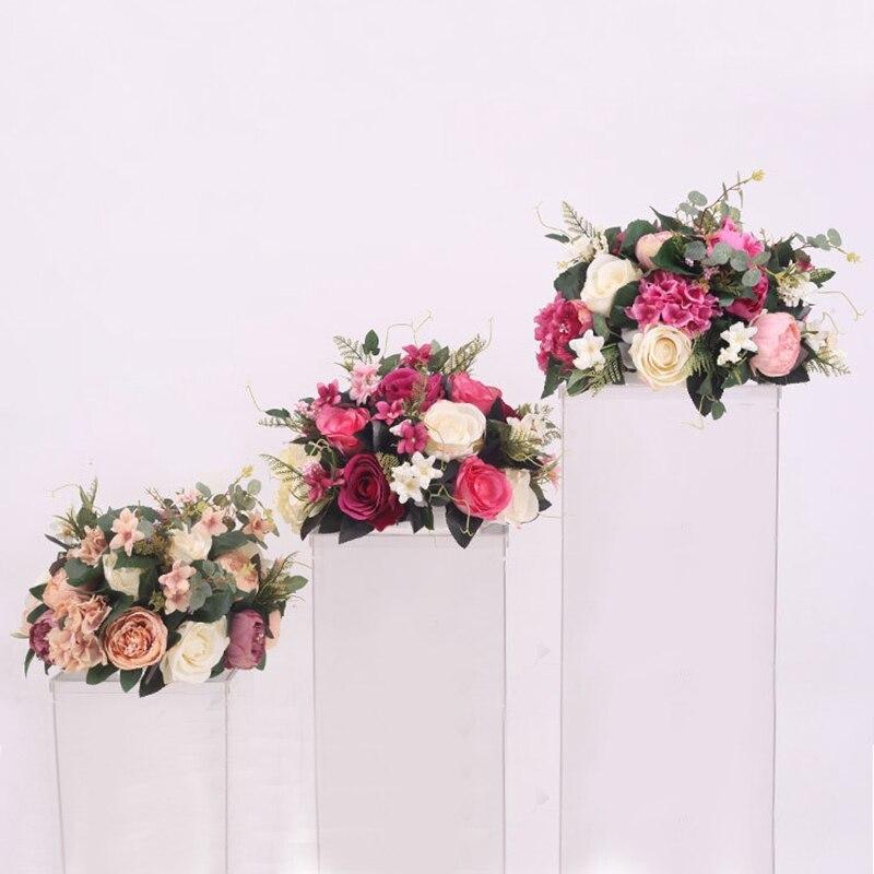 38 cm soie rose pivoine fleur artificielle boule hortensia centres de table arrangement décor mariage toile de fond T station stand fleurs