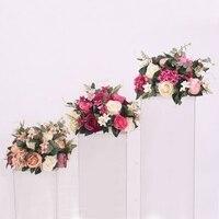 38cm silk rose peony artificial flower ball hydrangea centerpieces arrangement decor wedding backdrop T station stand flowers