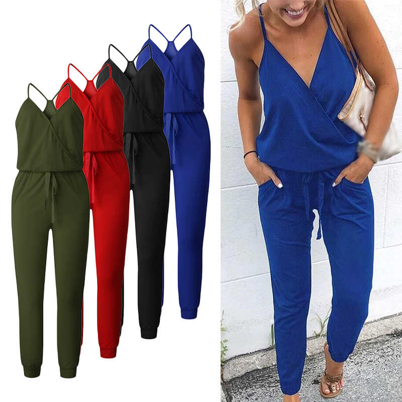 Women jumpsuit Sexy Straps V Neck Sleeveless Summer Jumpsuits Pockets Loose Elastic Casual Palysuit Female 2019