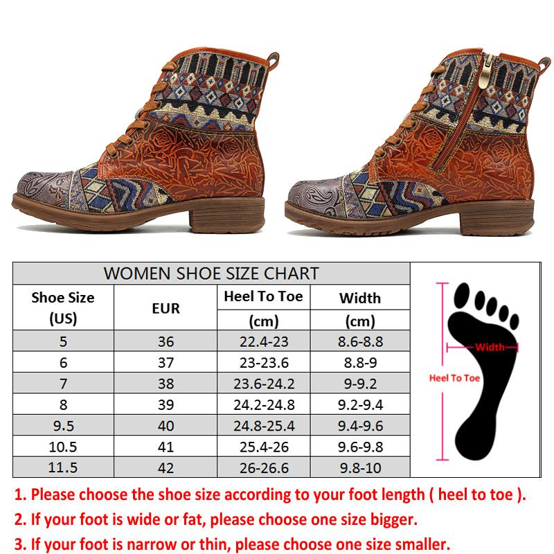 Women Bohemian Retro Leather Ankle Boots  1