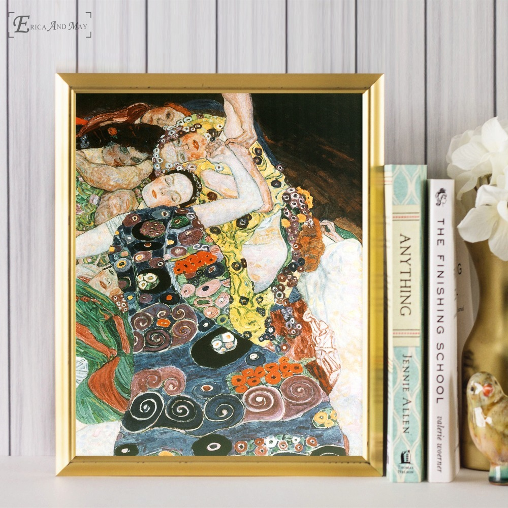 Gustav Klimt The Kiss Women Poster And Print Canvas Art Painting Wall Pictures For Living Room Decoration Home Decor No Framed in Painting Calligraphy from Home Garden
