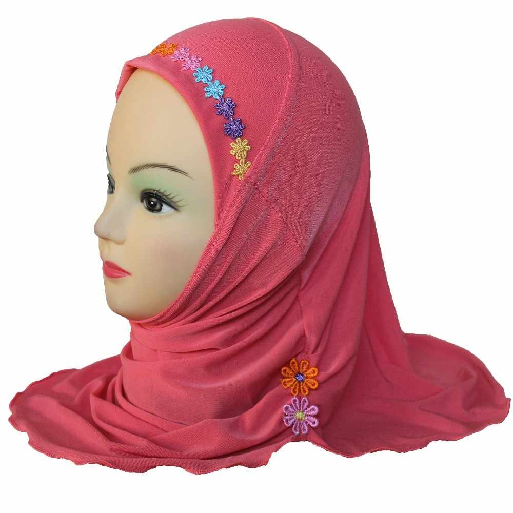 Girls Kids Muslim Hijab Islamic Arab Scarf Shawls with Beautiful Flowers about 45cm for 3 to 7 years old Girls