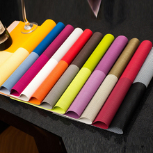 4 Square Solid Color Dining Table Placemat Europe Style PVC Striped Coasters Table Mat Dinning Bowl Dish Insulation Mat Pad