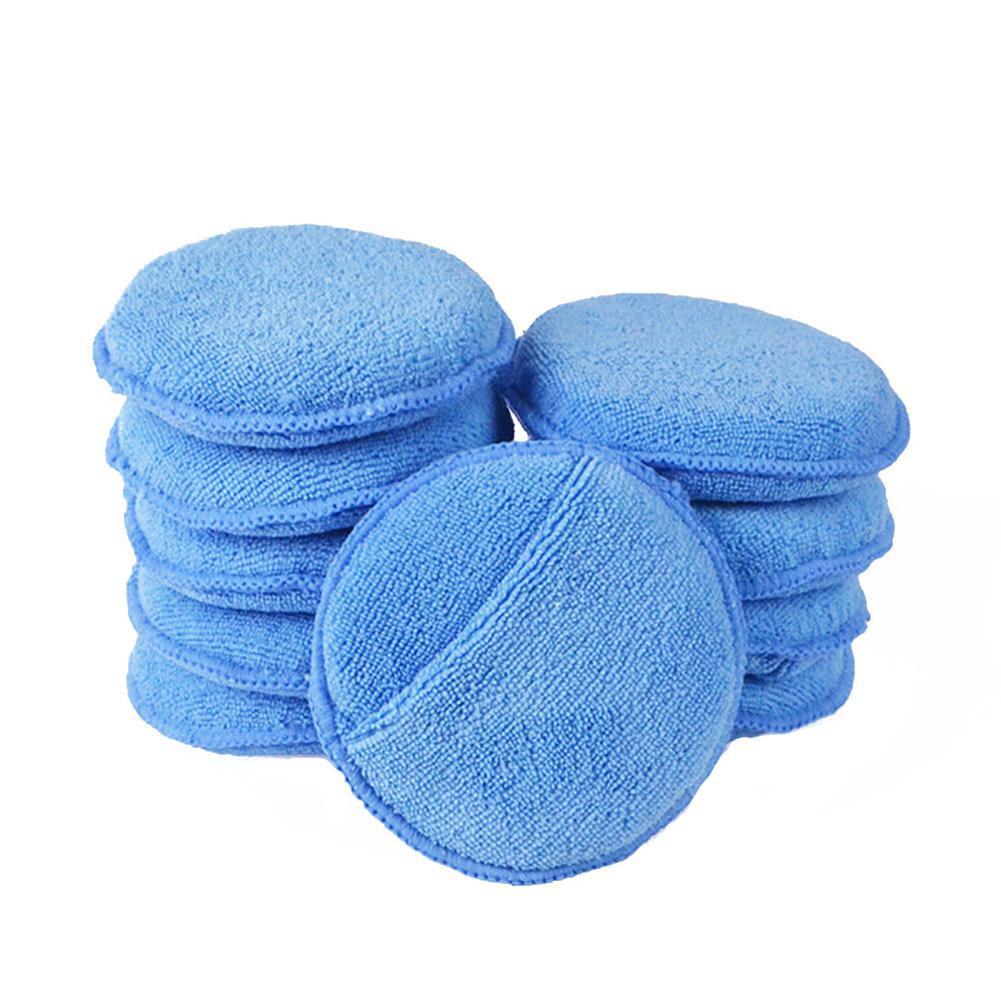 Car Wax Sponge 5 Inch Soft Microfiber Manual Applicator Pad Polishing Sponge With Pocket For Apply Remove Wax Auto Care