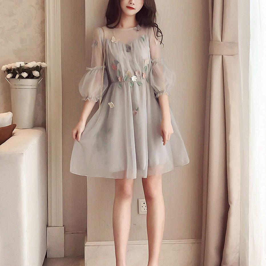 Korean Spring Summer Dress Midi Long Sleeve Dress Wholesale Elegant Plus Size Dresses 5