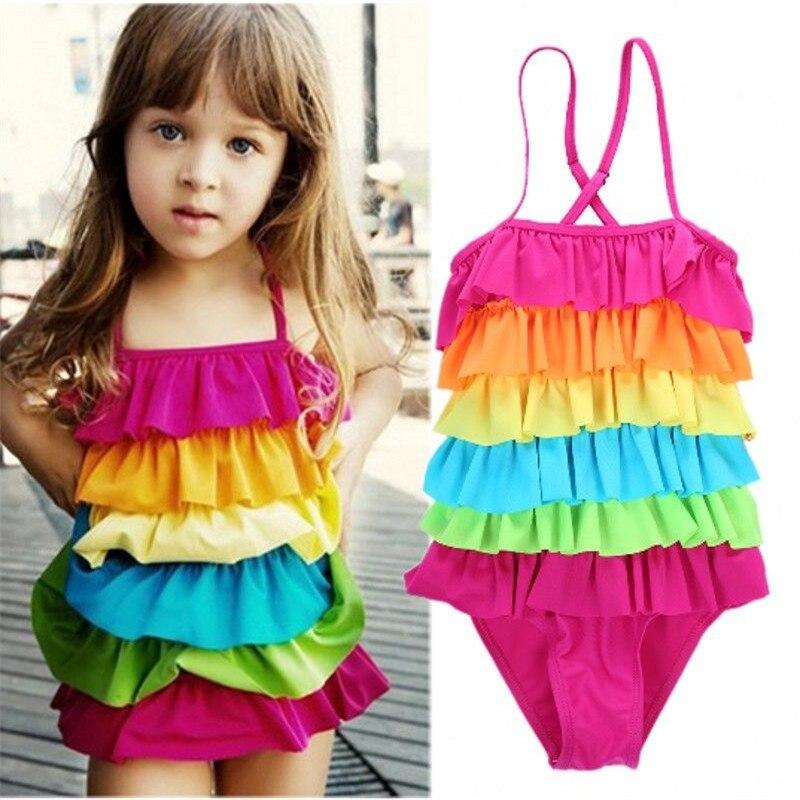 2-9 T Regenbogen Mädchen Kinder Badeanzug Layered Badeanzug Kinder Bademode Bikini Tankini Baby Mädchen Sommer Biquini Schwimmen Kostüm