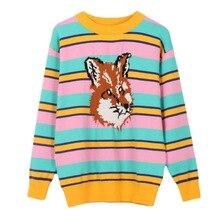 Runway diseño pull femme 2018 nuevas rayas anchas Fox patrón de manga larga  de punto jersey suéter de invierno mujeres dulce Jum. 26a34af913c18