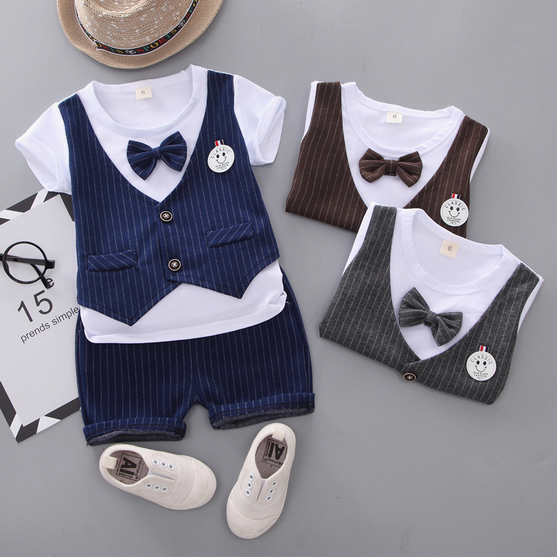 Verão crianças meninos roupas de algodão crianças cavalheiro smiley camiseta shorts 2 pçs/sets da criança roupas de moda infantil fatos de treino