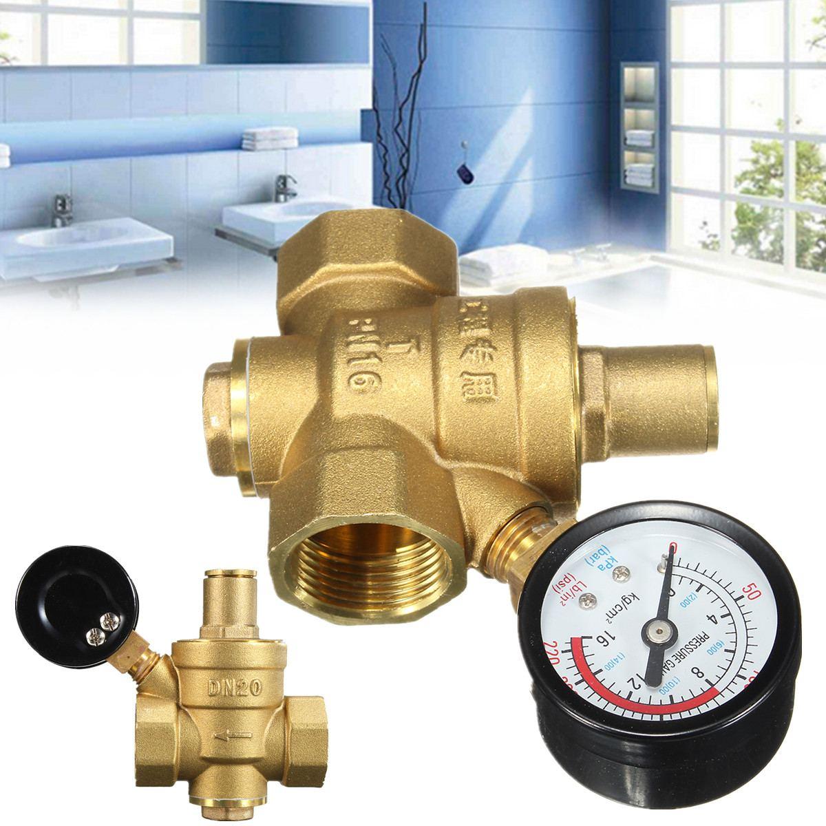 Brass Water Pressure Regulator Reducer DN20 NPT 3/4 Adjustable With Gauge Meter PN 1.6 for Hydraulic Instability/Water PurifierBrass Water Pressure Regulator Reducer DN20 NPT 3/4 Adjustable With Gauge Meter PN 1.6 for Hydraulic Instability/Water Purifier
