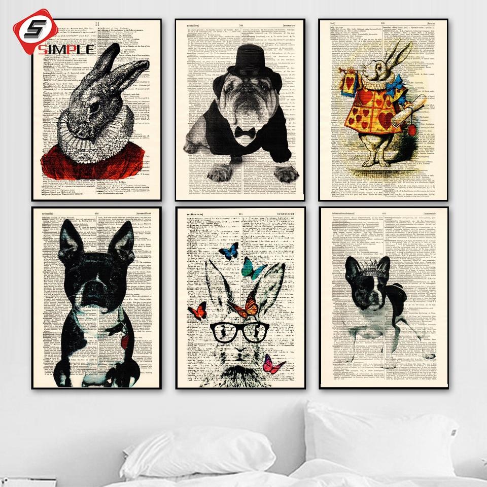 Vintage Wall Art Canvas Painting Wonderland Rabbit Puppy