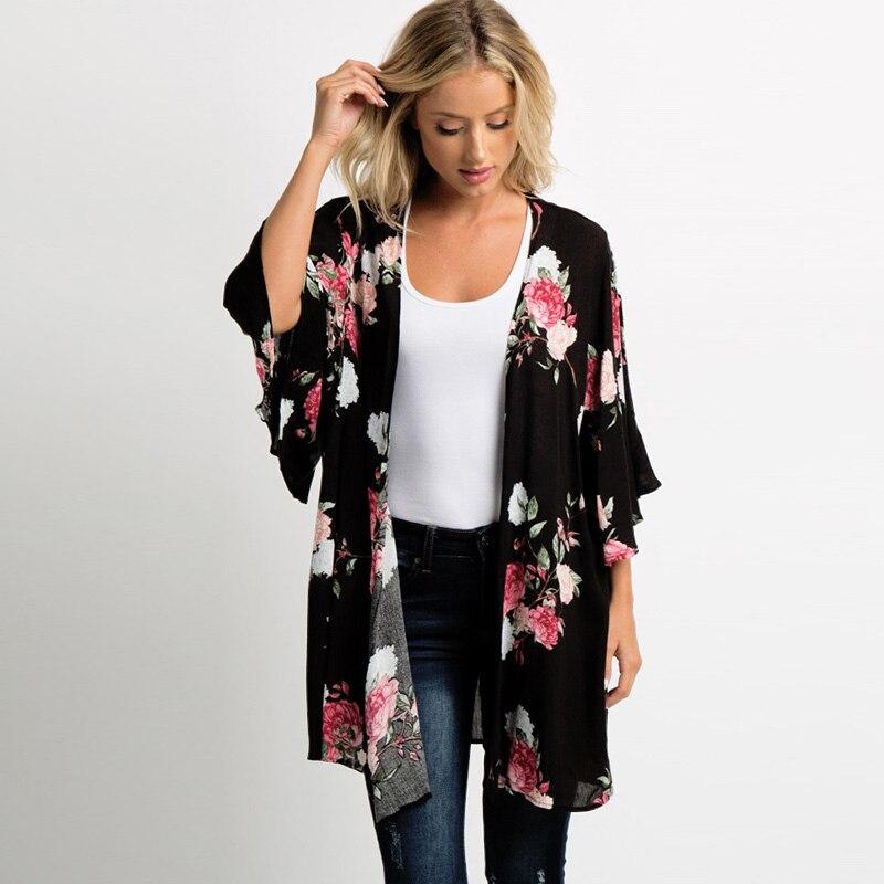Black Women Summer Kimono Cardigan 2019 Boho Beach Floral Print Loose Casual Streetwear Tops Ladies Chiffon   Blouse   and   Shirts