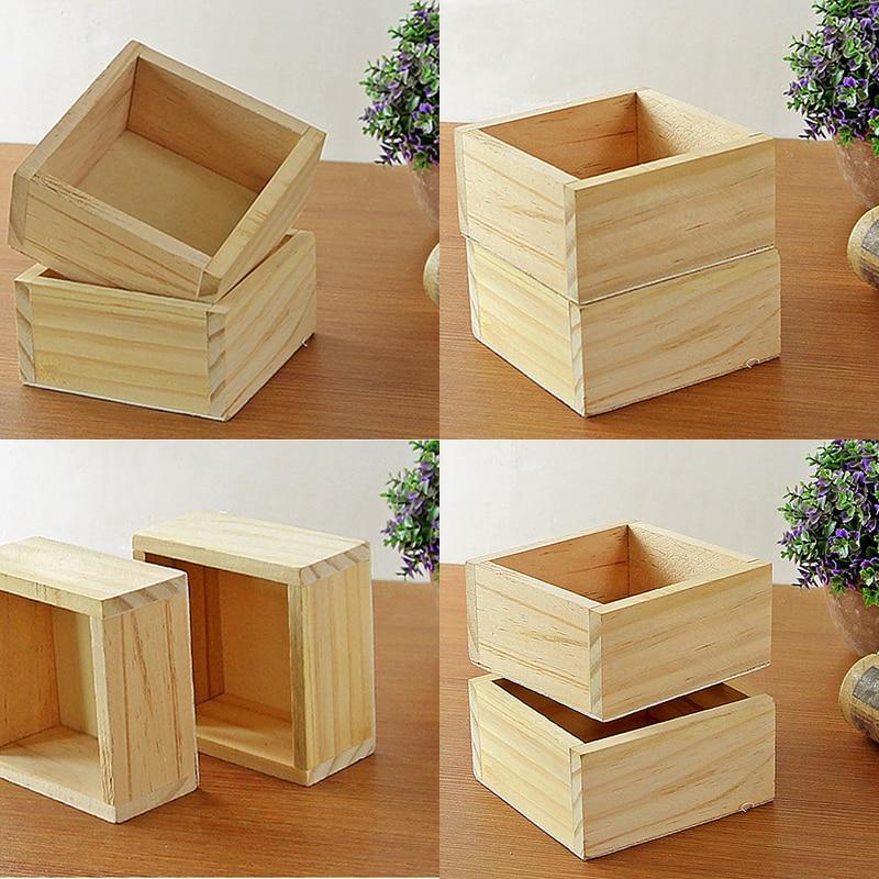 New Succulent Pot Wood Garden Flower Seeds Herb Planter Rectangle Trough Plant Bed Flowerpot Nursery Bonsai Case Storage Box